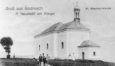 Kostel sv. Štěpána v Jadruži na pohlednici z roku 1917