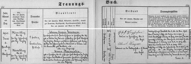 Záznam o svatbě rodičů v oddací matrice farní obce Horní Dvořiště