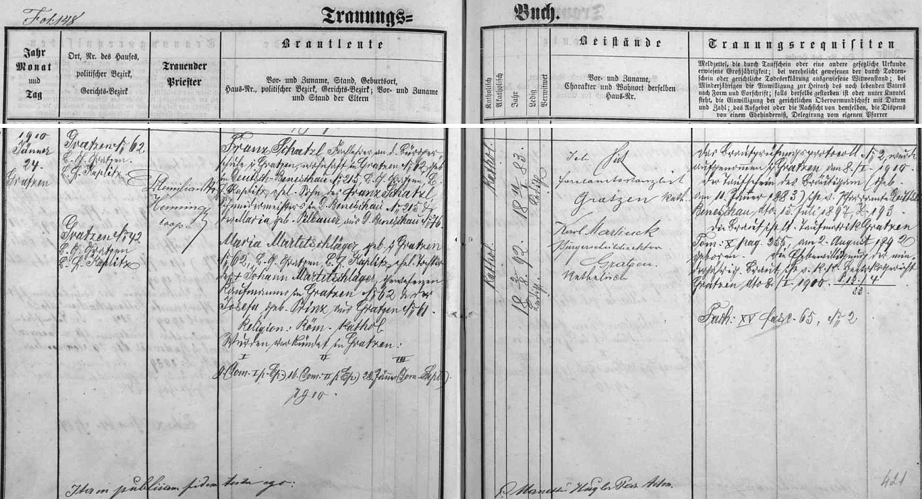 Záznam o svatbě jeho rodičů v Nových Hradech dne 24. ledna 1910 - otec Franz Schatzl, zastřelený 9. května 1945 komandem SS poté, co sňal ze školy, na které řediteloval, hákový kříž (viz níže a Helene Hager-Stanglová), byl synem Franze Schatzla, krejčovského mistra z Německého Benešova, matka Maria, roz. Martetschlägerová, byla dcerou novohradského kupce Johanna Martetschlägera a jeho ženy Josefy, roz. Prinzové, z Nových Hradů