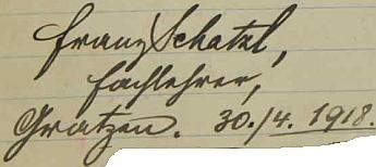 Podpis jeho otce na stránkách školní kroniky vsi Desky z dubna roku 1918