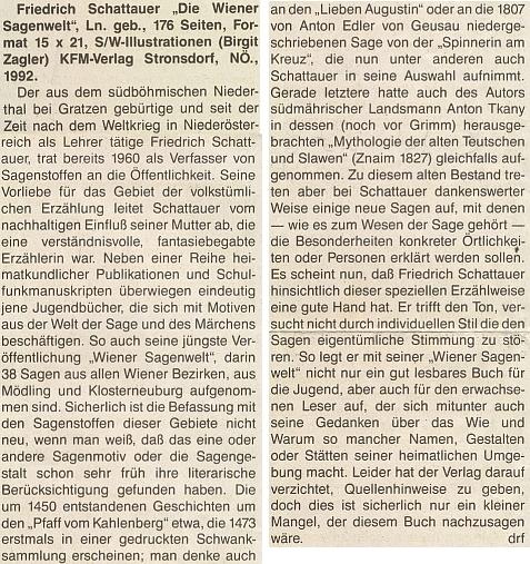 Recenze jedné z jeho knih na stránkách rakouského orgánu krajanského sdružení