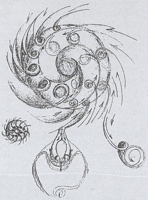Jeho vlastnoruční náčrty vířivého pohybu a bioturbíny
