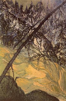 Barevný dřevoryt Josefa Váchala ze sbírek Muzea Šumavy v Kašperských Horách nese název Horský potok