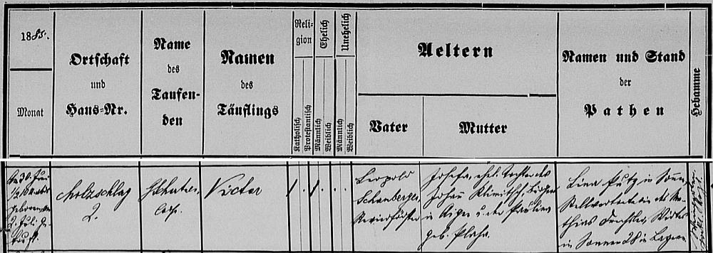 Záznam o jeho narození v ulrichsberské křestní matrice