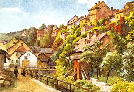 Táž, dnes už zcela změněná vimperská scenerie na reprodukci obrazu Wilhelma Fischera