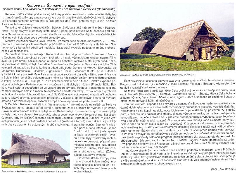 Informace o Keltech v novějším turistickém průvodci, vytištěném ve Vimperku v roce 2009