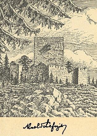Vítkův Kámen na kresbě K.Schefczika