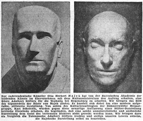 Kriticky se vyjádřil k Hajekově bystě Adalberta Stiftera pro Walhallu a Sudetendeutsche Zeitung přinesl v létě 1954 dokonce dvojici snímků, kde mají čtenáři sami srovnat sochařovu práci s posmrtnou maskou spisovatelovou