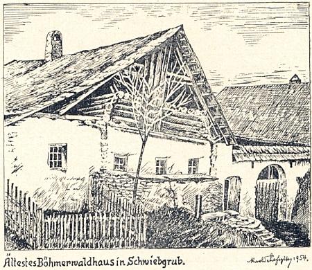 """Jím signovaná perokresba """"nejstaršího šumavského stavení"""", zdávna zvaného """"Marker"""" ve dnes zcela zaniklé vsi Svíba (Schwiebgrub)..."""