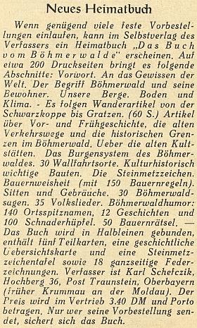 "Inzerát na jeho knihu o Šumavě (""Das Buch vom Böhmerwald"") s podrobným výčtem jejího obsahu"
