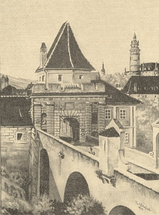 Jím signované zpodobení Budějovické brány vČeském Krumlově