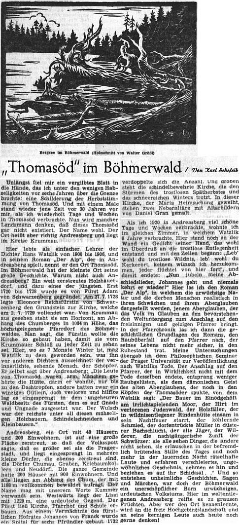 V listopadu 1952 otiskl ústřední orgán krajanského sdružení jeho vzpomínku na Ondřejov a tamní pobyt Hanse Watzlika, doprovázenou dřevorytem Waltera Grössla