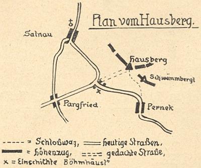 Snímek vrcholu hory Hrad a situační plánek doprovázejí článek jeho bratra Karla o tamních nálezech hliněných střepů, zveřejněný v českobudějovickém měsíčníku Waldheimat