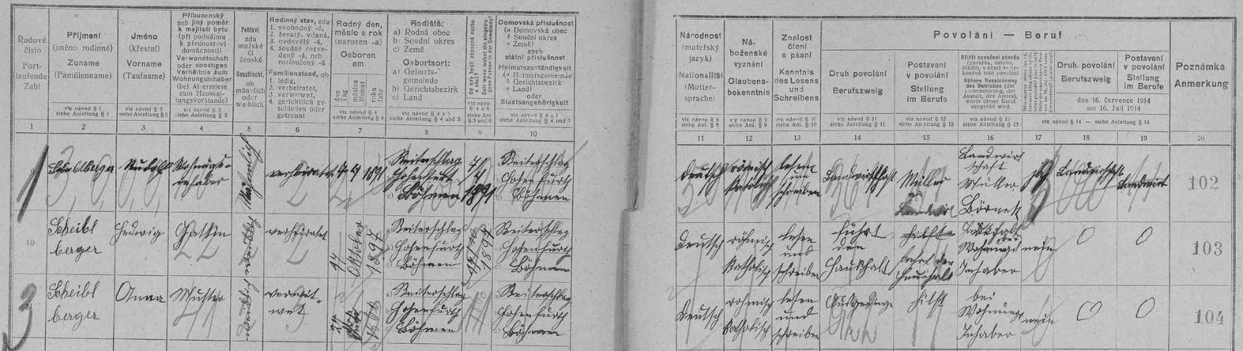 Popisný arch sčítání lidu z roku 1921 pro stavení čp. 20 v Malém Perneku zaznamenává majitele Trumplmühle Rudolfa a Hedwig Scheiblbergerovy a Rudolfovu matku Annu