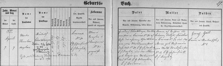 Záznam o narození otcově v rychnůvecké křestní matrice s přípisem o jeho pozdější svatbě s Hedwig, roz. Hoferovou