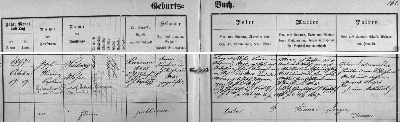 Záznam o narození matčině v rychnůvecké křestní matrice s pozdějším přípisem o její svatbě