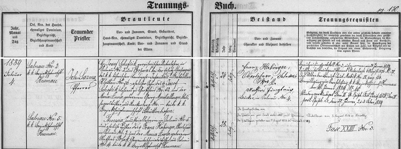 Záznam želnavské oddací matriky o jeho první svatbě