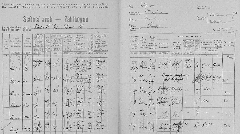 Arch sčítání lidu z roku 1921 pro školu v Perneku (čp. 26)
