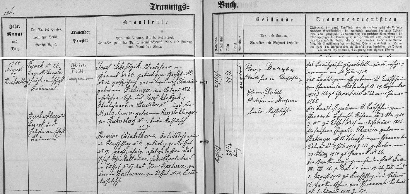 Záznam o jeho druhé svatbě v oddací matrice farní obce Světlík