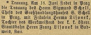 Oznámení o jeho pražské svatbě v českubudějovickém německémlistu schybně uvedeným křestním jménem