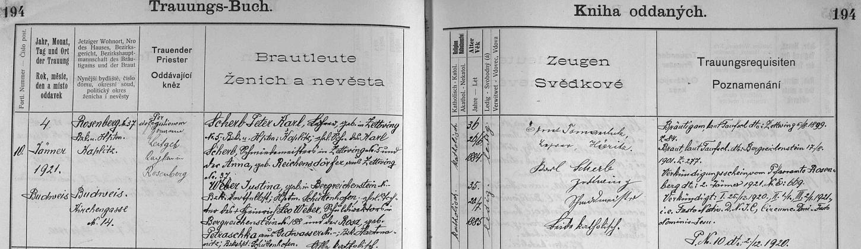 Záznam o jeho svatbě v českobudějovické oddací matrice