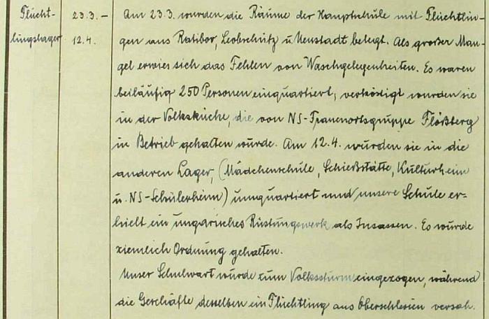Poslední zápis v německé školní kronice chlapecké obecné a měšťanské školy v Českém Krumlově