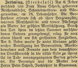 Zpráva o matčině smrti v Cetvinách na stránkách českobudějovického německého listu