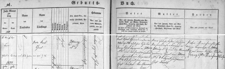 Záznam cetvinské křestní matriky o jeho narození