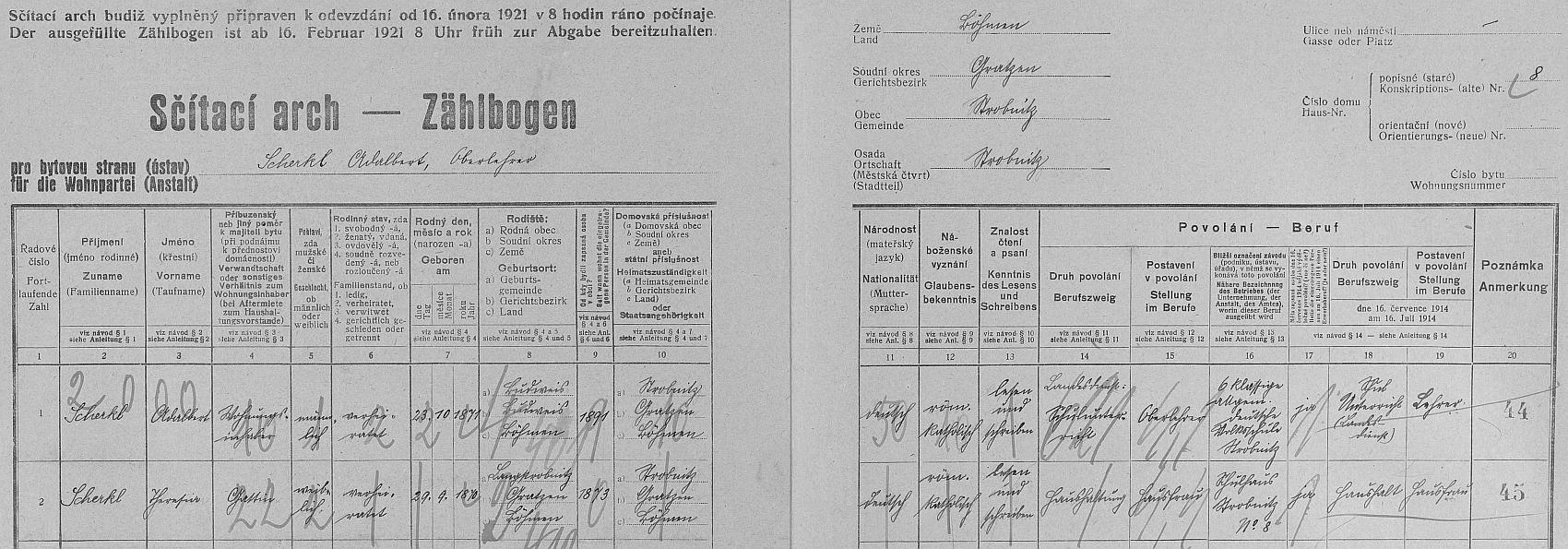 Arch sčítání lidu z roku 1921 pro dům čp. 8 v Horní Stropnici, kde žil se svou manželkou