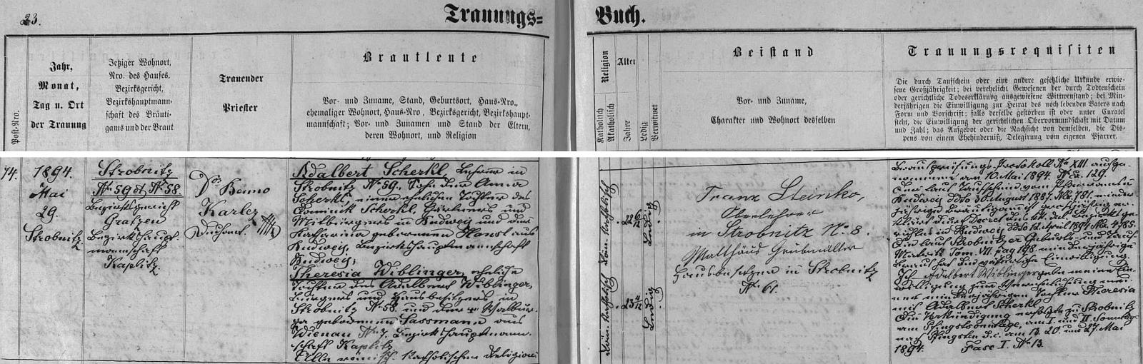Záznam o jeho svatbě v Horní Stropnici v tamní oddací matrice