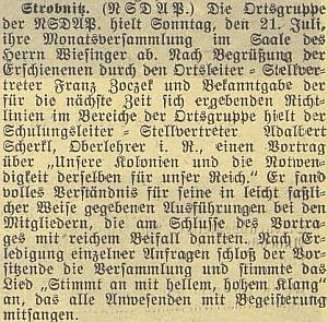 Stropnická místní skupina NSDAP uspořádala v roce 1940 jeho přednášku o německých koloniích