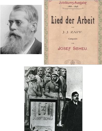 """Jeho otec Josef Scheu, hudebník a tvůrce známé """"Písně práce"""", obálka (1898) jubilejního vydání otcovy proslulé písně a otcův náhrobek na vídeňském Ústředním hřbitově, řečník vedle vpravo stojící je Victor Adler, pražský rodák, spoluzakladatel první Rakouské republiky (Republik Österreich) a předák sociálně demokratické strany"""