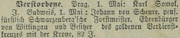 Zpráva o jeho skonu v pražském německém listu