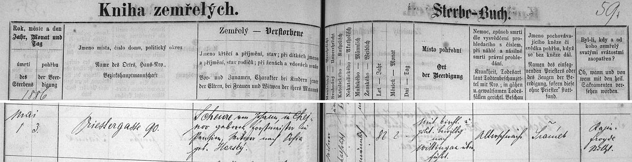 Záznam o jeho smrti v českobudějovické knize zemřelých