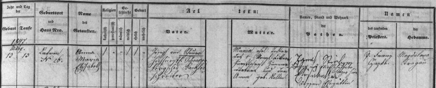 Záznam českokrumlovské matriky o narození a křtu jeho sestry Anny Marie v době, kdy byl její a jeho otec ještě písařem v Plavnici