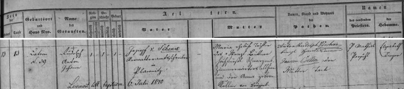 Záznam českokrumlovské matriky o narození a křtu jeho bratra Rudolfa s výslovným udáním otcova zaměstnání vPlavnici