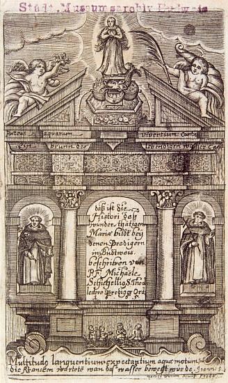 Titulní list Schicheliovy knihy Puteus aquarum viventium oder Ein Brunn des lebendigen Wassers, vydané v Praze roku 1665