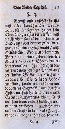 Pasáž z jeho knihy o založení dominikánského kláštera a kostela Narození Panny Marie