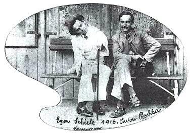 Egon Schiele a Anton Peschka v Č. Krumlově roku 1910