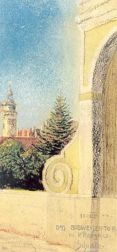 Jeho kresba barevnou křídou z roku 1906 zachycuje věž českokrumlovského zámku od mostu před Budějovickou branou
