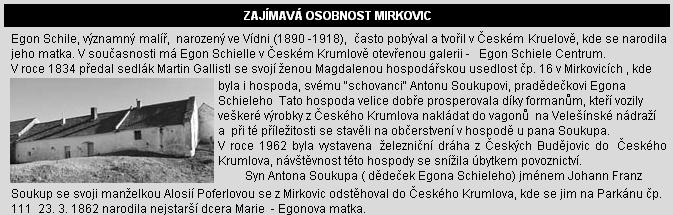 O jeho matce a dědovi na webových stránkách obce Mirkovice, na kterých se ovšem právě tady dá najít řada pravopisných a věcných omylů