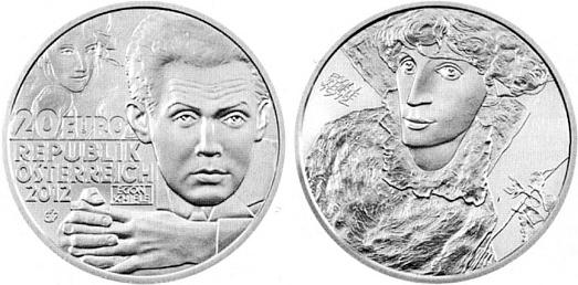 """Rakouská stříbrná mince v hodnotě 20 € z roku 2012, narubu s portrétem Wally Neuzilové, bývalé modelky Gustava Klimta a za krumlovských pobytů Schielových """"pro nevázaný život"""" sní i jedné z příčin jejich vyhoštění odsud"""