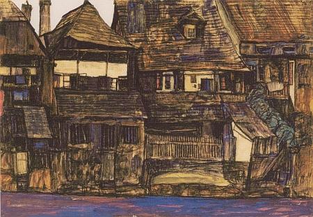 Dům čp. 111 je na akvarelu z roku 1910, který Schiele nazval Domy na Vltavě, zachycen od řeky a je to ten zcela napravo