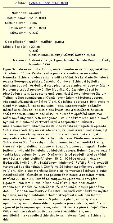 Záznam v databázi regionálních osobností Městské knihovny vČeském Krumlově s jeho jménem