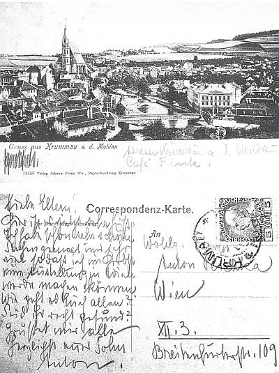 """Pozdrav z Krumlova """"nad Vltavou"""" se Schieleovým podpisem na líci pohlednice (1910)"""