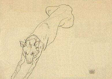 Pastýřský pes na Schielem signované kresbě černou křídou na balicím papíře