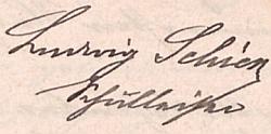 Jeho podpis ve školní kronice Schürerova Dvora a její titulní list