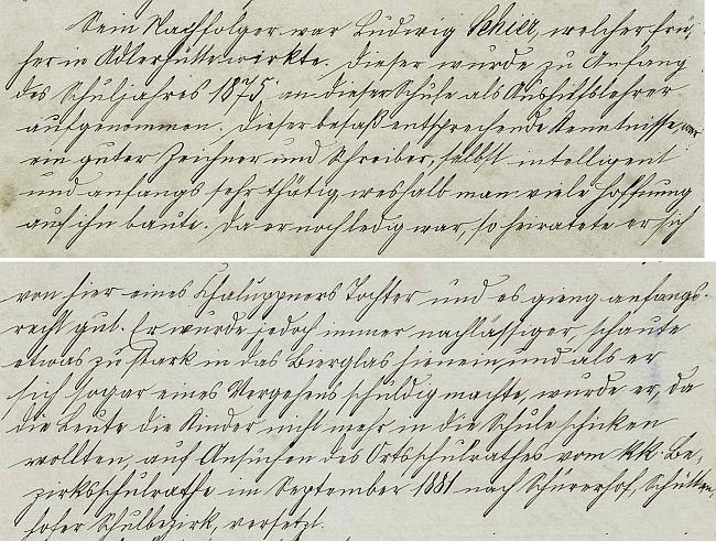 Zápis o jeho působení ve školní kronice Dolních Chrášťanech včetně poznámky o vztahu k alkoholu