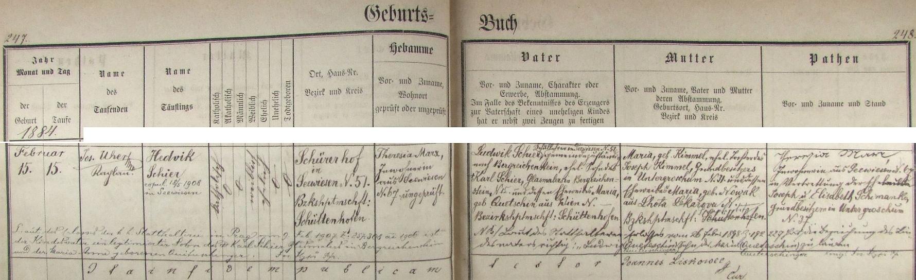V zejbišské křestní matrice nacházíme tento záznam o narození dcery Hedviky i s daty otce a matky