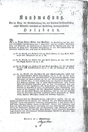 """Pravděpodobně nejstarší tiskem vydaná vyhláška oznamující konání licitací na stavební práce budoucí koněspřežky uvádí jako místo jednání k jednomu z úseků """"im Zartlesdörfer Schlosse"""", tj. vcertlovském zámku"""